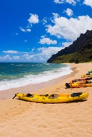Sea Kayaks On Milolii Beach, Island Of Kauai, Hawaii Fine Art Print