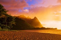 Evening Light On Na Pali Coast Spires, Island Of Kauai, Hawaii Fine Art Print