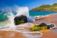 Surf Crashing On Rocks At Secret Beach, Kauai, Hawaii Fine Art Print