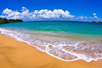 Blue Waters On Hanalei Bay, Island Of Kauai, Hawaii Fine Art Print