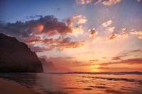 Sunset Along The Coast Of Kauai, Hawaii Fine Art Print