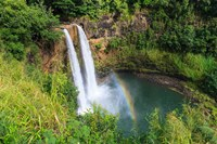 Rainbow In Wailua Falls, Kauai, Hawaii Fine Art Print