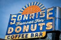 Vintage Neon Sign For Sunrise Donuts Fine Art Print