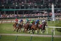 Horses Racing On Turf At Churchill Downs, Kentucky Fine Art Print
