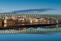 Western Avenue Bridge And Kennebec River, Maine Fine Art Print