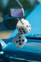 1950's Fuzzy Dice At An Antique Car Show Fine Art Print
