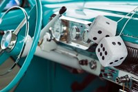 1950's Fuzzy Dice In A Teal Car Fine Art Print