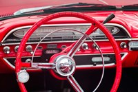 Classic Red Steering Whell At An Antique Car Show Fine Art Print