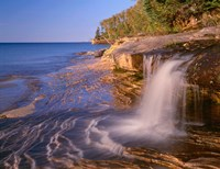 Waterfall Flows Across Sandstone Shore At Miners Beach Fine Art Print