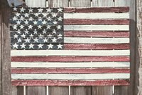 Worn Wooden American Flag, Fire Island, New York Fine Art Print
