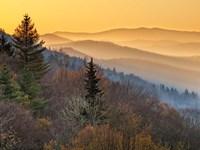 Sunrise From The Oconaluftee Valley Overlook, North Carolina Fine Art Print