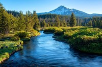 Mt Bachelor And The Deschutes River, Oregon Framed Print