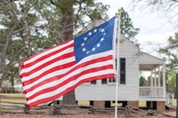 Betsy Ross Flag At The Craven House In Historic Camden, South Carolina Fine Art Print
