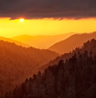 Sunset Light Fills Valley Of The Great Smoky Mountains Fine Art Print
