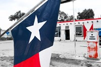 Flag At An Antique Gas Station, Texas Fine Art Print