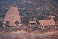Ancient Petroglyph Of Owl And Big Horn Sheep, Utah Fine Art Print