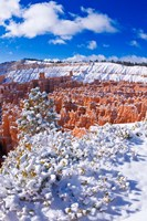 Fresh Powder On Rock Formations In The Silent City, Utah Fine Art Print