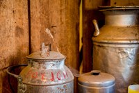 Old Milk Containers From A Dairy Farm Fine Art Print