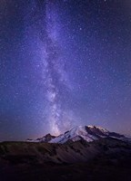 Stars And The Milky Way Above Mt Rainier And Burroughs Mountain Fine Art Print