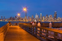 Seacrest Park Fishing Pier, With Skyline View Of West Seattle Fine Art Print