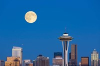 Seattle Skyline View With Full Moon Fine Art Print