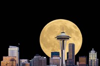 Large Full Moon Behind The Seattle Space Needle Fine Art Print