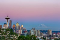 Skyline View Of Seattle With Mount Rainier Fine Art Print