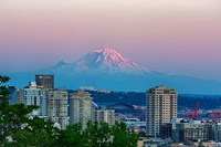 Mount Rainier Behind The Seattle Skyline Fine Art Print
