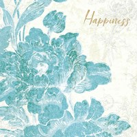Toile Roses VI Teal Happiness Fine Art Print
