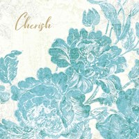 Toile Roses V Teal Cherish Fine Art Print