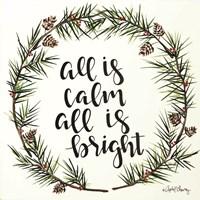 All is Calm Pinecone Wreath Fine Art Print