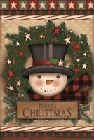Merry Christmas Snowman Wreath Fine Art Print
