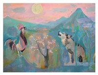 The Wolf and the Rooster Sing by Moonlight Fine Art Print