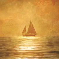 Solo Gold Sunset Sailboat Fine Art Print