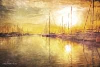 Yellow Sunset Boats in Marina Fine Art Print