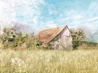 Spring Green Meadow by the Old Barn Fine Art Print