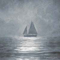 Solo Blue Sea Sailboat Fine Art Print