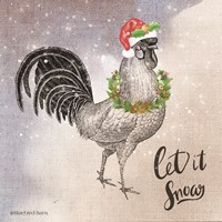 Vintage Christmas Be Merry Rooster Fine Art Print