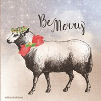 Vintage Christmas Be Merry Sheep Fine Art Print