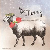 Vintage Christmas Be Merry Sheep Fine Art Print