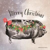 Vintage Christmas Be Merry Pig Fine Art Print