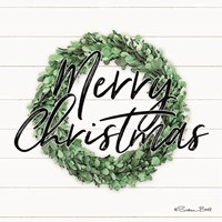 Merry Christmas Boxwood Wreath Fine Art Print