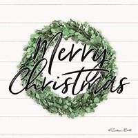 Merry Christmas Boxwood Wreath Fine Art Print