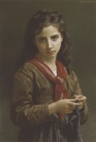 Young Girl Knitting, 1874 Fine Art Print