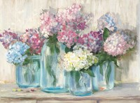 Hydrangeas in Glass Jar Pastel Crop Fine Art Print