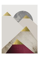 Beige Burgundy Mountains 2 Fine Art Print