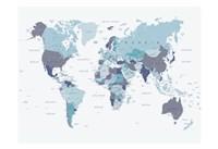 World Map Blue 1 Fine Art Print