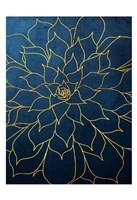 Navy Gold Succulent 1 Fine Art Print