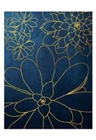 Navy Gold Succulent 2 Fine Art Print