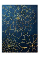 Navy Gold Succulent 3 Fine Art Print